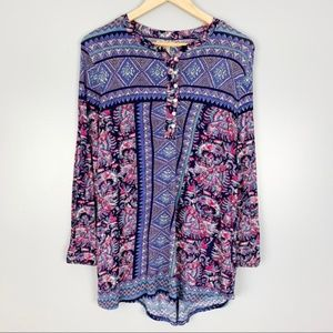 Lucky Brand Boho Pattern Long Sleeve Tunic Size M